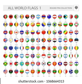 Round Pin Icons of All World Flags. Part 1. All World Flags Vector Collection.