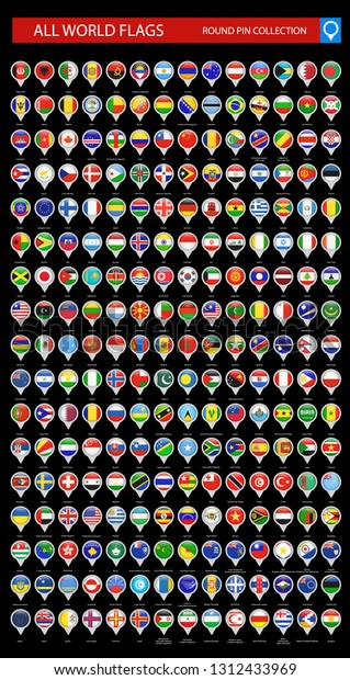 Round Pin Icons All World Flags Stock Vector (Royalty Free
