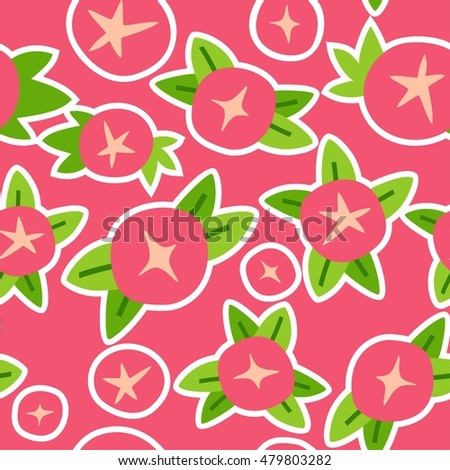 Round Pink Flowers Seamless Pattern Stock Vector Royalty Free