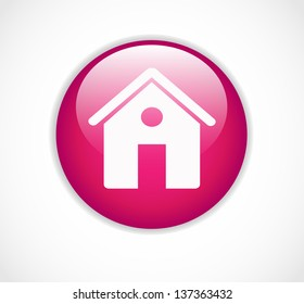 Round pink web home page button with house icon vector