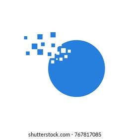 round pixel blue logo vector template design icon