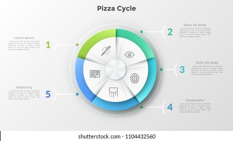 Round pizza chart divided into 5 equal sectors with linear symbols inside connected to numbered text boxes. Concept of five features of business project. Infographic design layout. Vector illustration