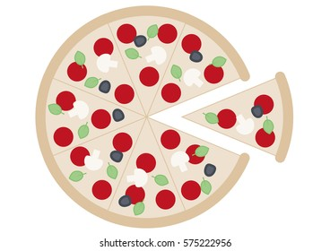 Round Pizza Sliced up in eight slices