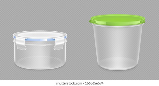 Round plastic food containers with clipping path and latch lock lids. Storage for frozen products, lunchbox for meal, package isolated on transparent background, Realistic 3d vector mock up, clip art