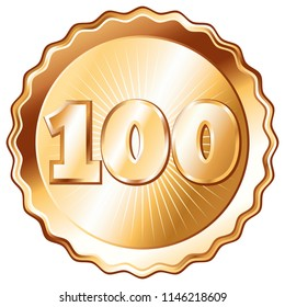 Round, plate shaped metal badge / seal of approval in bronze look and the number 100. A 100 year jubilee celebration icon, 100th anniversary badge.