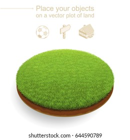 Round plot of land with a dense green grass and a brown cut of soil. Stylish trimmed sward floats above a white background. Useful like an isometric natural location for any advertised objects.