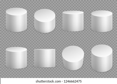 Round podium 3d bases. White cylinder solid pedestal. Pillar circular foundation isolated vector set