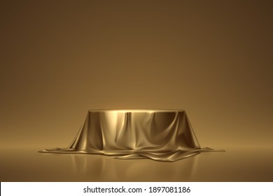 Round podium covered with golden cloth