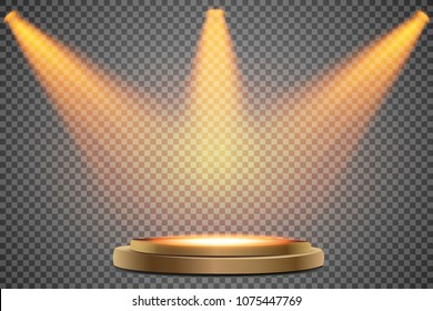 Round podium, First place. Pedestal or platform illuminated by spotlights on white background. Stage with scenic lights. Vector illustration.