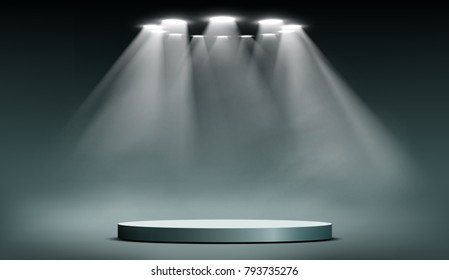 Round podium illuminated by searchlights. Blank background for the presentation. Stock vector illustration.