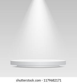 Round podium illuminated by spotlights. Stock vector illustration image.