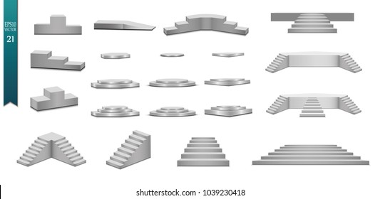 Round podium, isolated on a transparent background. 3d pedestal. Vector illustration.