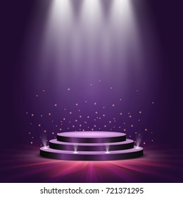 Round podium on bright background. Empty pedestal for award ceremony. Platform illuminated by spotlights. Vector illustration.