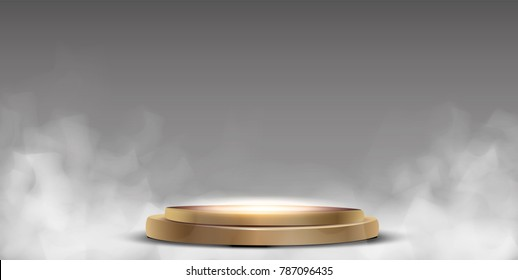 Round podium, pedestal or platform illuminated by spotlights on white background. Stage with scenic lights. Vector illustration.