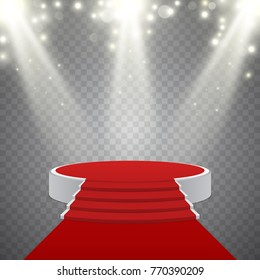 Round podium with red carpet and blurred light effect, vector design