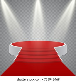 Round podium with red carpet and light effect, vector design