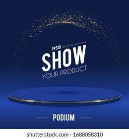 Round Podium. Scene, pedestal and 3D platform with gold glitter effect. Advertising, award and win design. Show and sale background. Realistic presentation mockup.