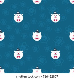 Round Polar Bear Christmas Seamless Pattern - Great for Christmas and Winter Projects, Wrapping Paper, Backgrounds, Wallpapers.