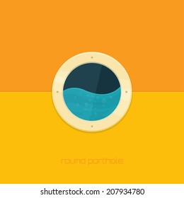 round porthole on a light background with water on the opposite side