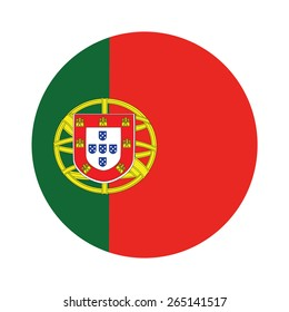 Round portugal flag vector icon isolated, portugal flag button