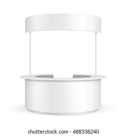 Round POS POI Blank Empty Retail Stand Stall Bar Display With Roof Canopy Banner. On White Background Isolated. Mock Up Template Ready For Your Design. Product Advertising Vector EPS10