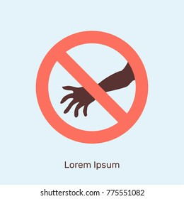 Round prohibition sign, crossed out hand, harassment before women, vector illustration, flat concept, silhouette, red, dark, white, blue, icon, sexual
