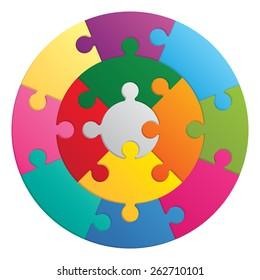 Round puzzle. 13 color parts.