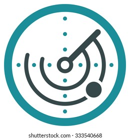 Round Radar vector icon. Style is bicolor flat symbol, soft blue colors, rounded angles, white background.