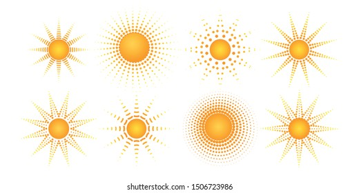 Round radial halftone dot of the sun shape Sunny pattern of orange dots spots rays on a white background Set Logo design element halftone textures frame Abstract orange dot spot of the sun rays Vector