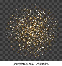 Round random falling shimmer dust golden confetti. Transparent gold background luxury shine foil vector. Carnival glitter design. Shine banner card sparkle. Decorative festive holiday backdrop.