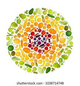 A round range of different vegetables and fruits. Vector illustration. Multicolored food is divided into colors by the circle.