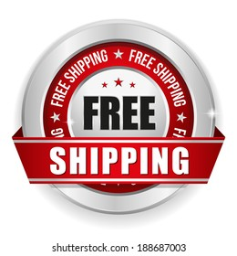 Round red free shipping badge with ribbon and metallic border