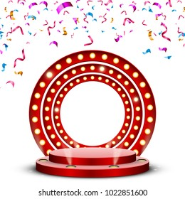 Round red podium with backlight and falling confetti, vector design