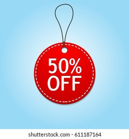 Round red price tag with 50% off text