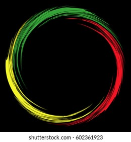 Round red yellow green abstract frame in reggae style. Element for creating posters, flyers, logos.
