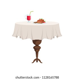 Round restaurant table with white tablecloth setting with glass of juice and piece of cake on a plate vector Illustration on a white background