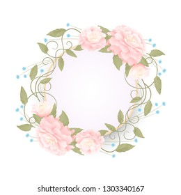 Round romantic frame with pink peonies on a white background, a wreath of flowers
