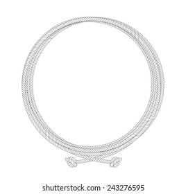 Round rope contour node frame. Vector clip art illustration isolated on white