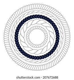 Round rope elements, frames, borders isolated on white