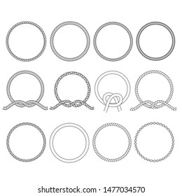 Round rope frame. Circle ropes, rounded border and decorative marine cable frame circles. Rounds cordage knot stamp or nautical twisted knots logo isolated vector icons set
