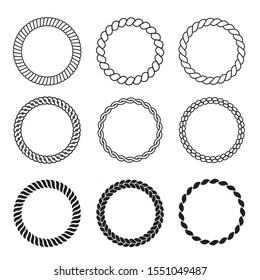 Round rope frames. Cable circle shapes strength decorative vintage ropes vector collection