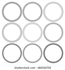 Round rope frames collection on white background. Collection of decorative rounds element. Vector illustration