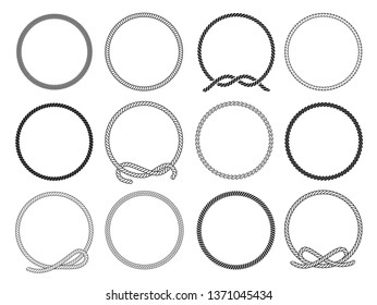Round rope frames set, twisted round pattern for decoration. Collection of loops. Vector flat style cartoon nautical circular frames illustration isolated on white background