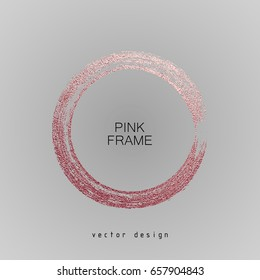 Round rose frame on a gray background. Circle luxury vintage border, Label, logo design element. Hand drawn shape vector Illustration. Pink Brush abstract wave