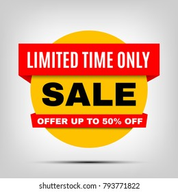 Round Sale banner, special offer red yellow tag. Limited time only discount badge with shadow, up to 50% off vector element, eps10.