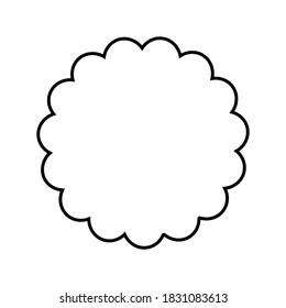 Round scalloped frame. Simple  labels, frame and sticker, with  border, to use with your designs.