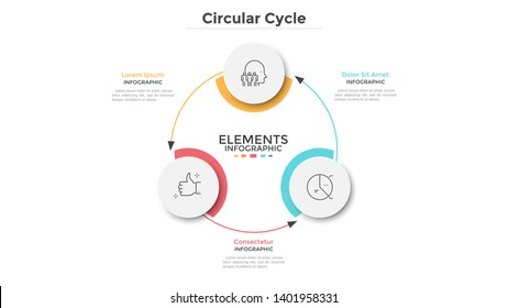 Round scheme with 3 circular paper white elements connected by arrows. Concept of three steps of business cycle or cyclic process. Minimal infographic design template. Modern vector illustration.