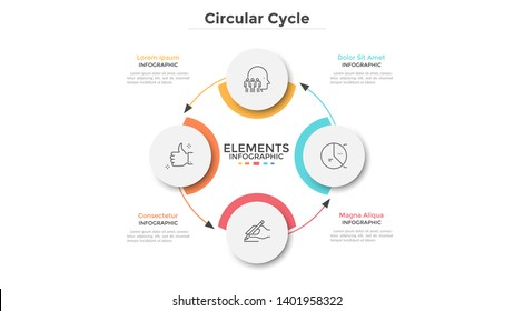 Round scheme with 4 circular paper white elements connected by arrows. Concept of four steps of business cycle or cyclic process. Minimal infographic design template. Modern vector illustration.