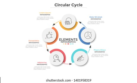 Round scheme with 5 circular paper white elements connected by arrows. Concept of five steps of business cycle or cyclic process. Minimal infographic design template. Modern vector illustration.