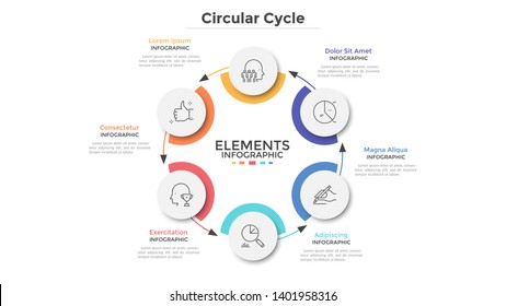 Round scheme with 6 circular paper white elements connected by arrows. Concept of six steps of business cycle or cyclic process. Minimal infographic design template. Modern vector illustration.